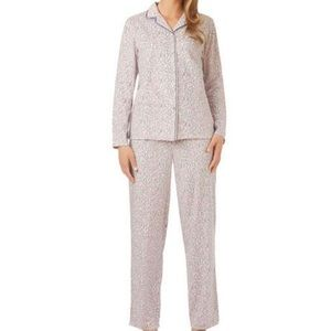 Aria Pink and Gray Leopard Print Fuzzy Pajamas